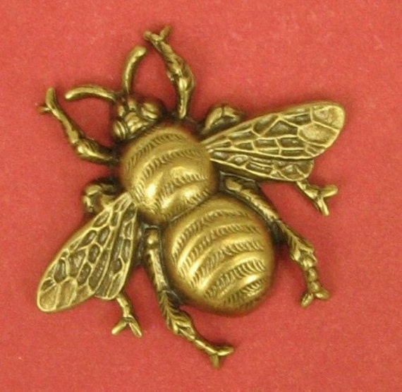 1 Giant Bumblebee Stamping - Antiqued Brass - 61x55  Fabulous