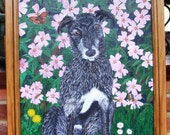 Heinz 57. Lurcher puppy and mallow flowers.  Original dog painting.  UK artist