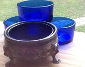 Salt Cellar Silver Footed w Cobalt Blue Glass