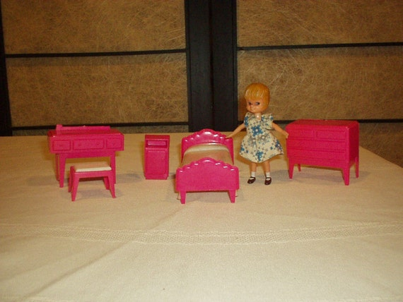 SALE! Vintage Dollhouse Doll and Dollhouse Bedroom Furniture