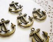 5 Pcs Antiqued Bronze Anchor Charm Pendant 23x20mm CM006-BRZ