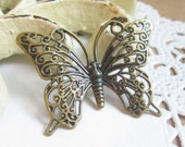 6 pcs. Antiqued Brass Filigree Butterfly Pendant Charm 36x26mm FG004-AB
