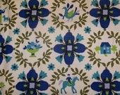 Green Blue Flower Horse Dutch Fabric