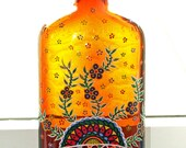 Colorful, Hand Painted, Vintage Brown Bottle w/ Flowers