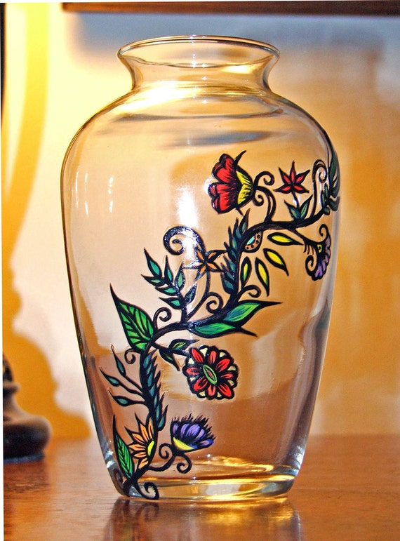 Hand Painted Glass Vase w Flower Vine by TattedGlass on Etsy
