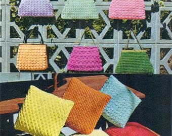 PDF Vintage Knitting and Crochet Pattern Book - Bags, Hat, Cushion Covers - Nylon Ribbon