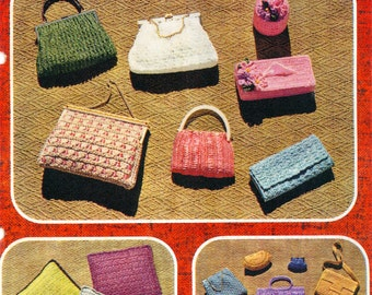 PDF Vintage Knitting and Crochet Pattern Book - Evening Bags, Coin Purses and Cushion Covers (bk 8)