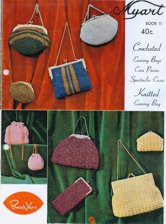 Knitting Pattern For Book Bag : PDF Vintage Knitting and Crochet Pattern Book Evening Bags
