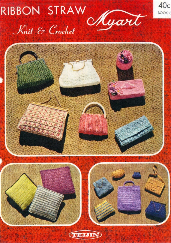 Crochet Boho Bag Pattern : PDF Vintage Knitting and Crochet Pattern Book Evening Bags