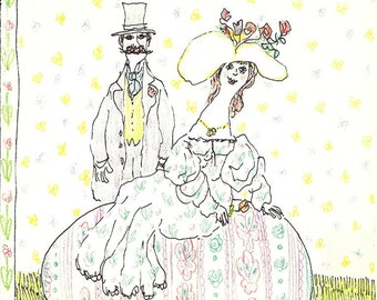 New Yorker cover by Wm. Steig of costumed couple in Spring 4/20/87 Ready to frame