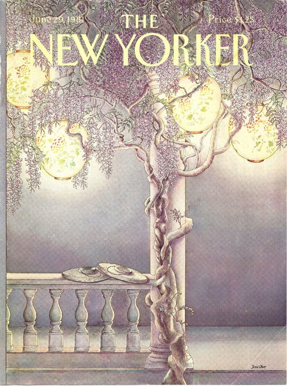 New Yorker cover by Jenni Oliver of wisteria covered porch & paper lanterns  6/29/81 Ready to frame