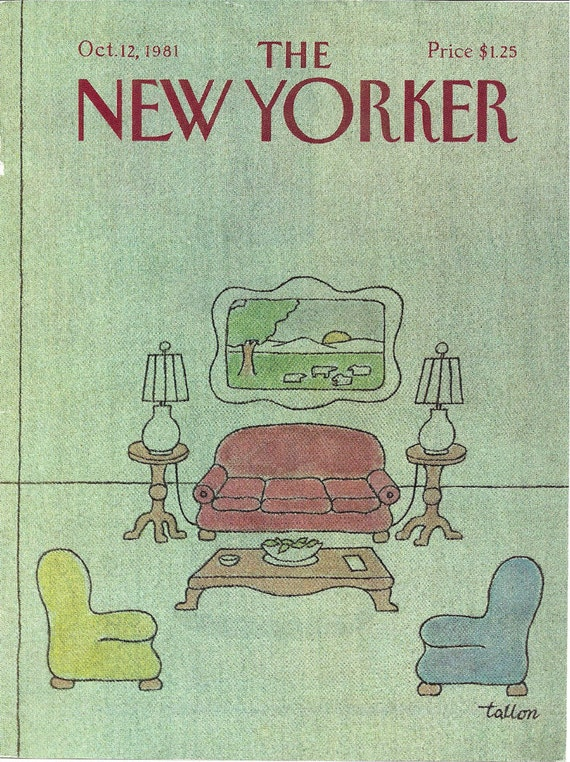 New Yorker cover by Robert Tallon of a green living room 10/12/81 Ready to frame.