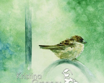 Archival Digital Print Reproduction: Sparrow - Birds - Nature Art & Watercolors