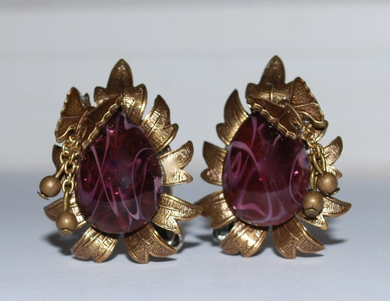 The Seasons--AUTUMN--Brass and Vintage Amethyst Swirls clip on earrings