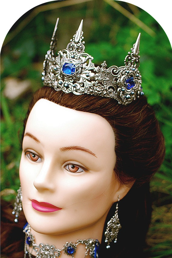 Tudor Princess--Elizabethan style Silver filigree Tiara with glass Sapphires by Eire Sha Dore