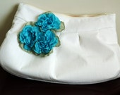 Linen Clutch with detachable fabric flower accent