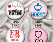 "Love Nurses (Cardiac, Labor, ER) - Interchangeable Magnetic Design Inserts - FIT Clique and Magnabilities 1"" Pendant Jewelry...349"