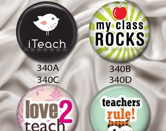 "Love Teachers - Interchangeable Magnetic Design Inserts - FIT Clique and Magnabilities 1"" Pendant Jewelry Bases...340"