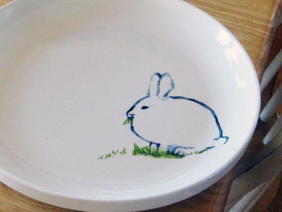 Hand painted Rabbit Serving Plate
