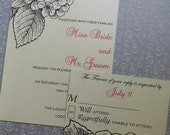 Elegant Hydrangea Wedding Invitation Suite - Deposit, Custom made (Save the Date, Reception Cards, Thank you cards and more avalable)