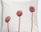 ON SALE. White - Cream cotton pillow case. Hand made RED flowers was appliqued on pillow. Flowers pillow. Romantic.