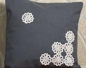 Grey cotton pillow case. Hand made lace was appliqued on pillow. Unique pillow.