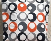 ON SALE. Grey and Orange and Black Circle Pillow case. For Spring and Summer.....