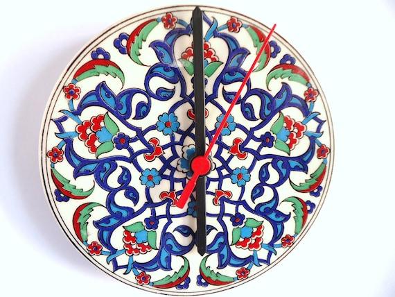 Flower, Wall Clock, Ceramic, Turkish tiles, Anatolian patterns