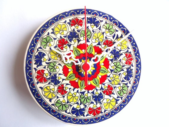 Wall Clock with colorful flowers Ceramic Turkish tiles, Anatolian and Ottoman patterns ,2012