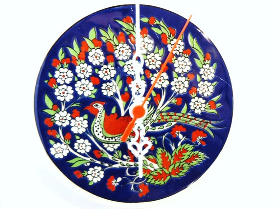Wall Clock with peacock  and flowers
