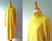 Ladies Vintage Super Long Bright Yellow Hippie Turtleneck Long Sleeve 80s Sweater Dress / Womens / Medium / Large
