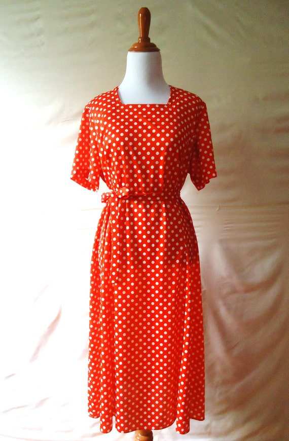 Classic Womens Vintage Red & White Polka Dot Square Neck Short Sleeve 70s Summer Dress / Large / XL