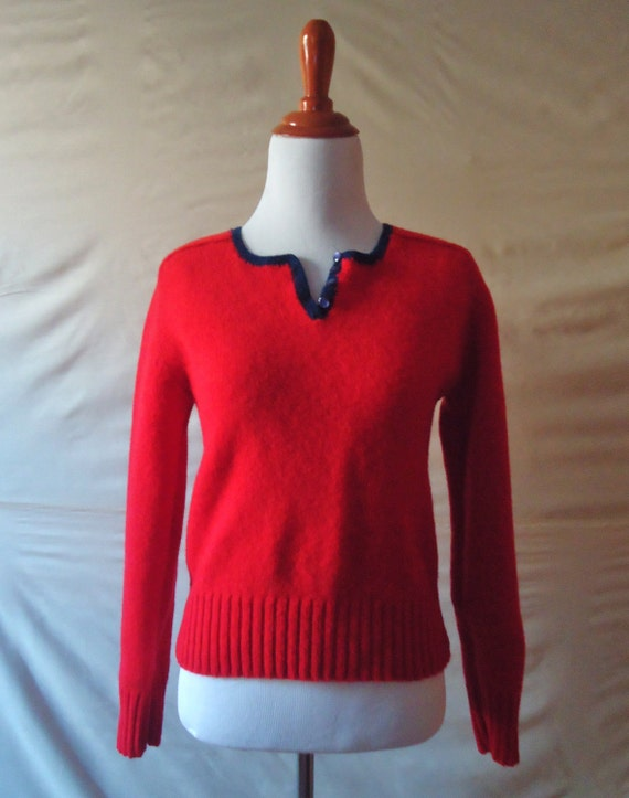 Retro Womens Vintage rich Red Long Sleeve V Neck Blue Lined 100% Wool Sweater / Small / XS / The Import Workshop Brand