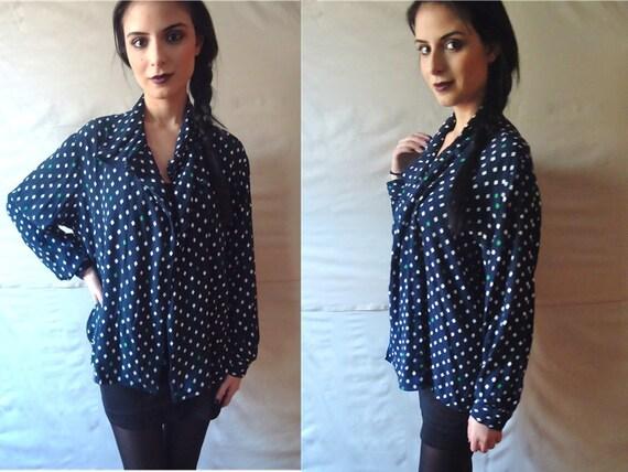 Womens Vintage Deep Blue Diamond Patterned Button Down Long Sleeve Blouse w/ White & Green Diamonds / Large / XL / Evan Picone Brand