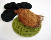 Hot Plate Set of 7 Hot Pads Crochet Table Mat Trivets Crochet Coasters in Black and Green