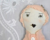 Clementine:  Handmade Rag Doll - OOAK- Recycled and Vintage Textiles - Light Pink Peach