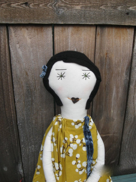 Faye:  A Unique 22 Inch Handcrafted Cloth Rag Doll- OOAK- Recycled and Vintage Textiles - Black Hair  Green Eyes - Mustard Yellow Dress