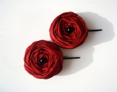 Dark Red Roses Hair Bridal Bobby Pins Set of 2