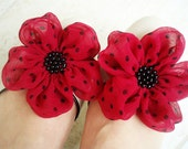 Hot Pink With Black Dots Flowers Shoe Clips