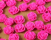 SALE - 20 pc.Neon Pink Ruffle Rose Cabochons 13mm x 11mm | RES-257