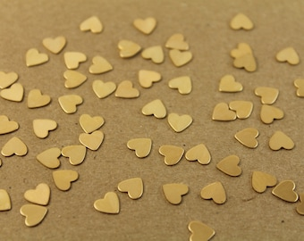 40 pc. Tiny Raw Brass Heart: 7mm by 7mm - made in USA | RB-002