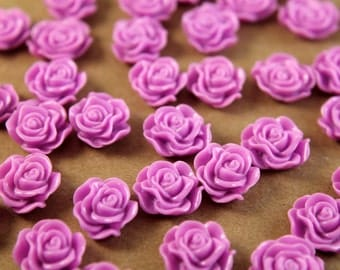 CLOSEOUT - 20 pc. Lilac Ruffle Rose Cabochons 13mm x 11mm | RES-223