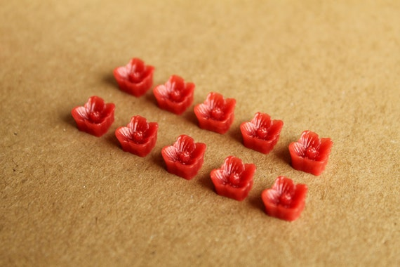 CLOSEOUT - 10 pc Cherry Red Sakura Blossom Cabochon 7mm | RES-098
