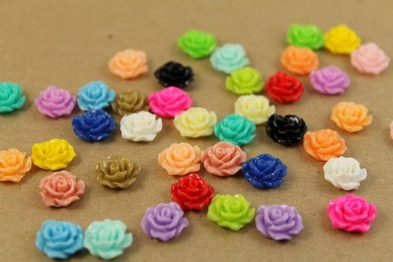 40pc. Multi-Colored Crisp Petal Rose Cabochons 10mm - RES-025