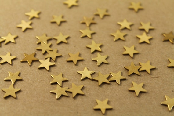 40 pc. Small Raw Brass Stars: 10mm by 10mm - made in USA | RB-006