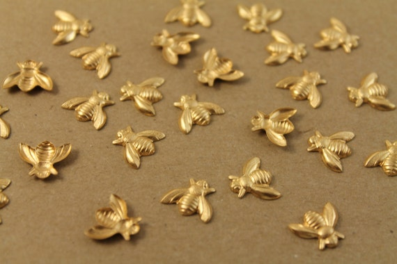 10 pc. Medium Raw Brass Bees: 12mm by 10.5mm - made in USA | RB-026