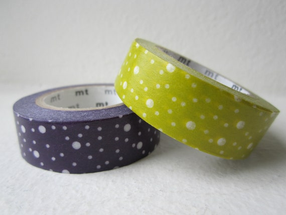 Washi tape 2P MT Kamoi Japanese for Decoration & Crafts  - Dotty Mustard Green / Eggplant Purple
