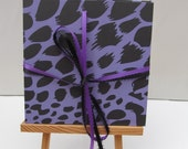 FREE SHIPPING- Accordion book- Purple leopard
