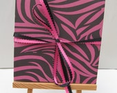 FREE SHIPPING- Accordion book- Pink zebra
