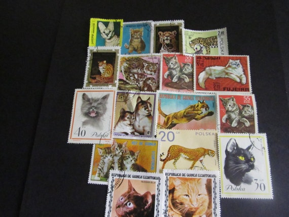 16 Vintage Postage Stamps Domestic And Wild Cats